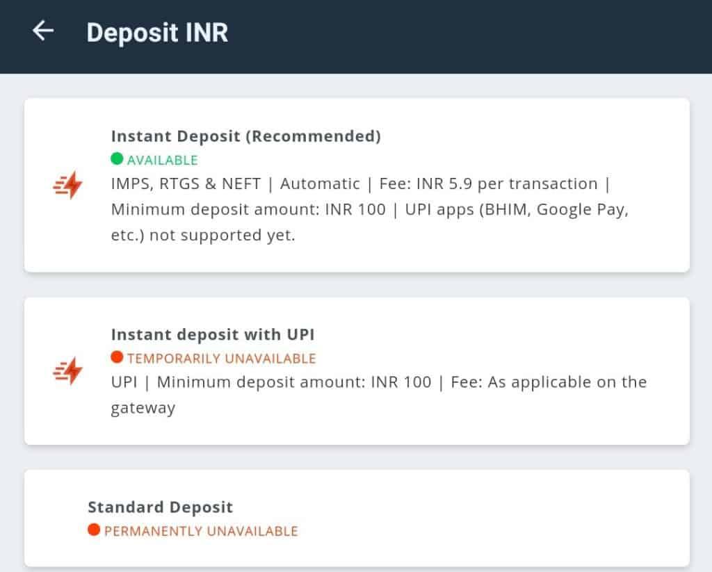 Deposit on WazirX