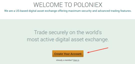 Create poloniex account