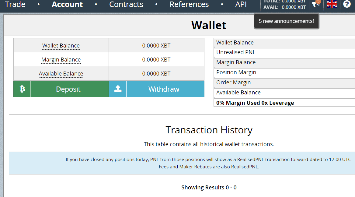 BitMEX deposit and Withdraw