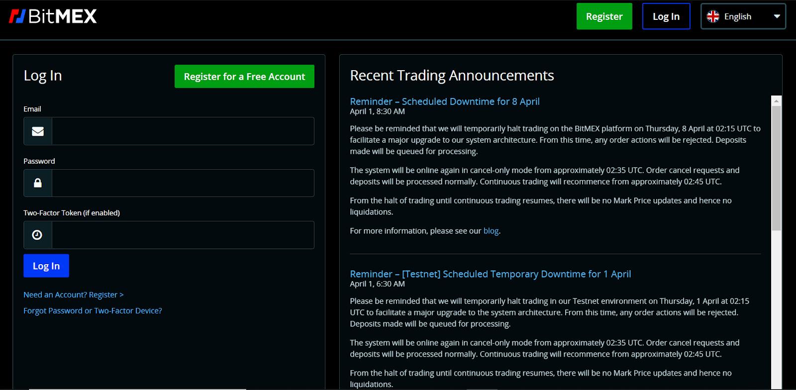 BitMEX sign up